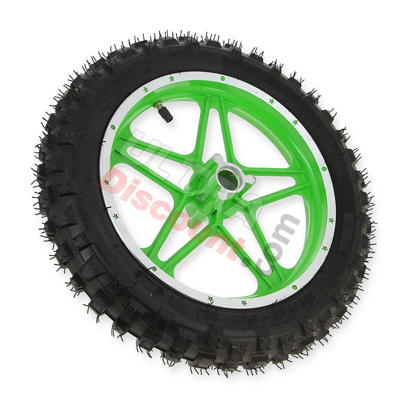 complete front wheel green for cross pocket bike (10, type 1), cross pocket bike parts
