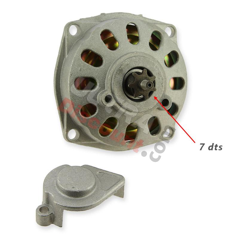 clutch bell + housing + 7 tooth sprocket tf8 (large pitch), pocket quad spare parts