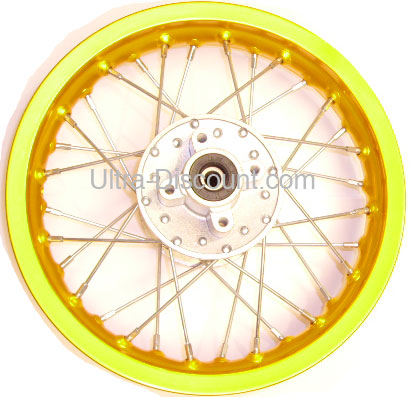 12 rear rim for dirt bike (type 1) - gold, dirt bike spare parts