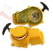 Aluminum Recoil Starter + Aluminum Sprocket for Pocket Bike - Yellow