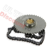 Set starter gear and chain for Skyteam engines 50cc