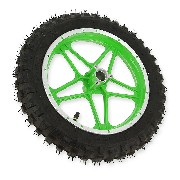 Complete rear wheel green for Cross Pocket Bike (10'', type 1)