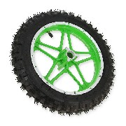 Complete front wheel green for Cross Pocket Bike (10'', type 1)