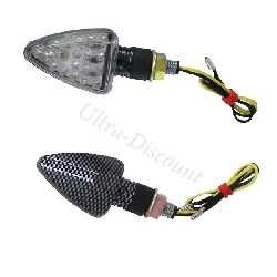 Pair of Carbon LED Turn Signals Quad Bashan BS200S-3