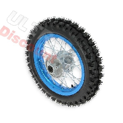 12'' Rear Wheel for Dirt Bike AGB27 (12mm Tread Lug) - Light blue