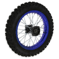 Full 14'' Rear Wheel for Dirt Bike AGB30 - Blue