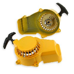Aluminum Recoil Starter + Aluminum Sprocket for Pocket Bike Yellow