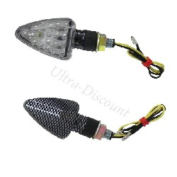 Pair of Carbon LED Turn Signals Scooter Baotian BT49QT-12