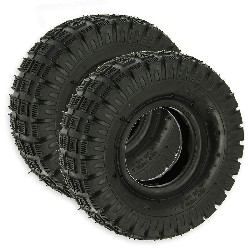 Pair of Tires 3.00-4 with Tread Lugs for ATV Pocket Quad