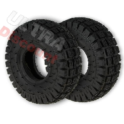 Pair of Tires with Tread Lugs for ATV Pocket Quad (type 2) - 3.00-4