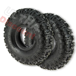 Pair of Tires with Tread Lugs for ATV Pocket Quad (type 2) - 4.10-4