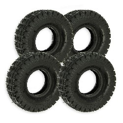 Set of 4 Tires 3.00-4 with Tread Lugs for ATV Pocket Quad