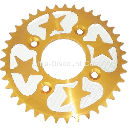 39 Tooth Rear Sprocket - Aluminum Core (type 1 - 420) - Gold-Alu